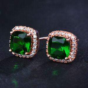 Elegant-18K-Rose-Gold-Princess-Champagne-Topaz-Stud-Earrings-Square-Christmas