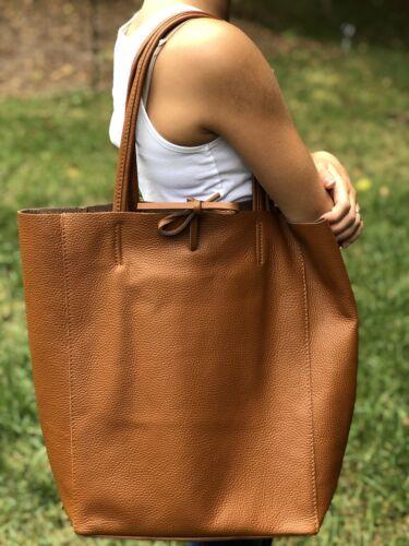 Genuine Italian Cowhide Leather Market Bag New In Cognac