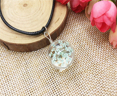 NEW Fashion Transparent Crystal Ball Glass Dried Flower Necklace Pendant Jewelry