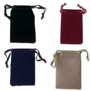 Lot of 12 Small 2 x 3 inch Velveteen Cloth Drawstring Jewelry Gift Pouch Bags