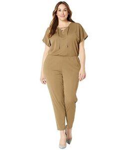 Lauren-Ralph-Lauren-Lace-Up-Jumpsuit-Fern-Size-XXL-MSRP-155-1103