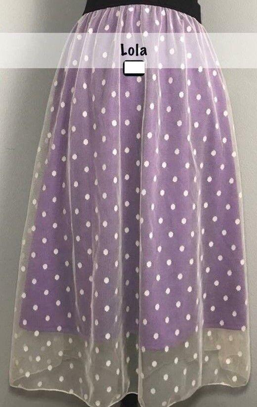 LARGE LuLaRoe LOLA SKIRT cream purple lavender polkadot dots lace tulle NWT L