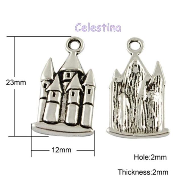 10 x Antique Silver Tone Fairytale Castle Charms - Frozen NF LF CF 21mm