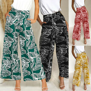 Women-Boho-Leaves-Print-Wide-Leg-Pants-Summer-Elastic-High-Waist-Casual-Trousers