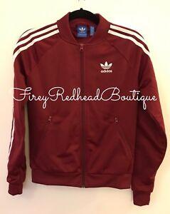 Image is loading Women-s-Adidas-Tracksuit-Jacket-Burgundy-Size-UK- f981677aa