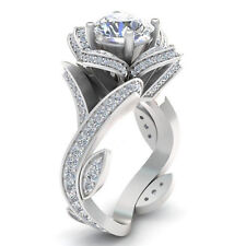 Size7 Women Charm Silver Plated Flower Couple Rings Wedding Engagement Ring