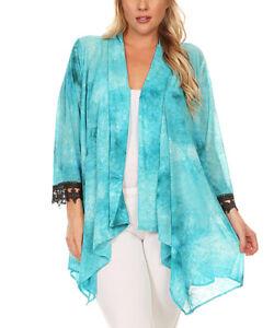 CANARI-New-Women-039-s-Plus-Size-Black-Lace-Cuff-Open-Cardigan