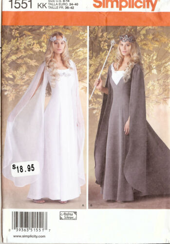 PATTERN for Galadrial Costume Simplicity 1551 Sz 8-24 LOTR Medieval Queen Dress
