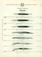 Catalog Page Ad Stiletto Pocket Knives Pearl Handle Aluminum Bone SF Calif 1902