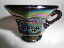 Amethyst purple carnival glass salt dip cellar celt cherry and cable pattern art