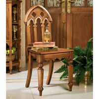 Antique Replica Trefoil Top Hardwood Gothic Revival Medieval Style Chair
