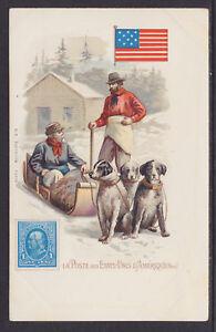 Kunzli-mint-PPC-La-Poste-aux-Etats-Unis-d-039-Amerique-Sled-dogs-Flag-amp-Stamp