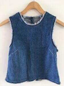 Vest Frayed Back Summer Asos senza spring Xs 4 Top maniche Open Size Denim nqUXwnSxA