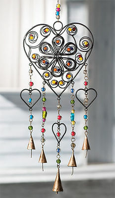 Namaste Fair Trade Heart Wind Chime With Mixed Beads