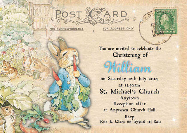 Personalised Postcard Peter Rabbit Christening Invitations Boy