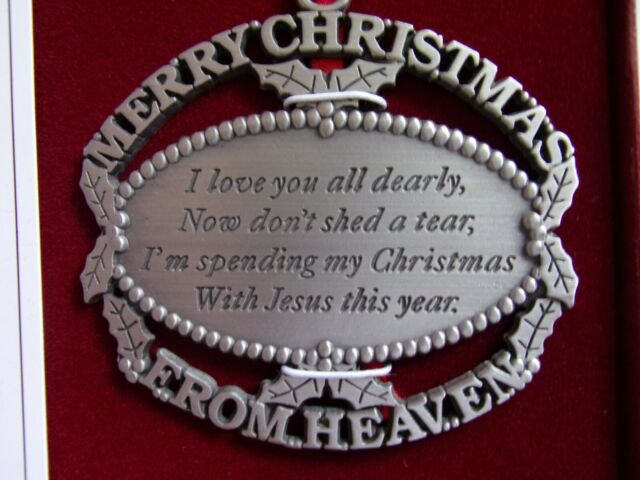 Merry Christmas From Heaven Pewter Ornament, with Poem ...