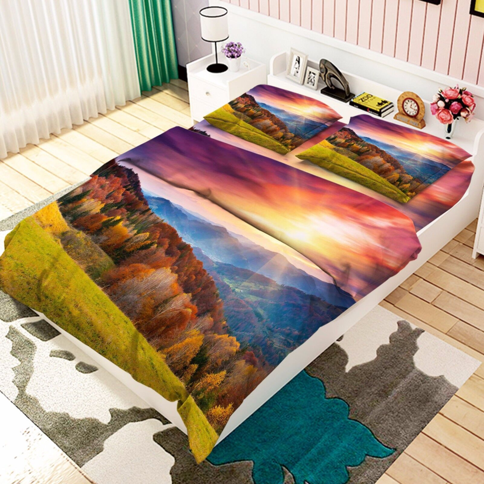 3D Mount Trees 896 Bed Pillowcases Quilt Duvet Cover Set Single Queen UK Kyra