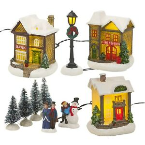 Details About Battery Operated Winter White Christmas Village Model With Led Light Up Indoor