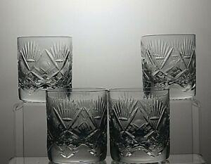 LEAD-CRYSTAL-CUT-GLASS-TUMBLERS-SET-OF-4-3-034-TALL-6-OZ