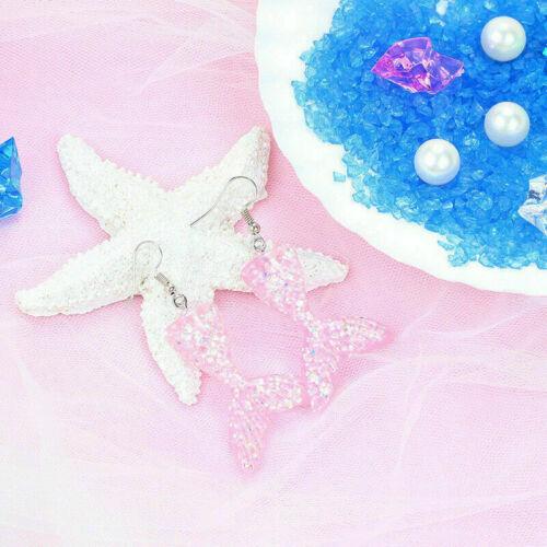 Fashion Sparkle Fish Mermaid Dangle Tail Charm Earrings Women Ear Stud Jewelry