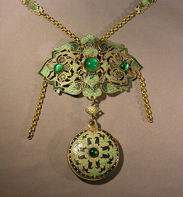 Antique Necklace Ornate Champleve Enamel Pendant w/ Mirror & Green Cabochons