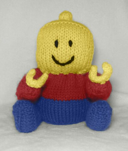 KNITTING PATTERN Lego Man inspired chocolate orange cover 18 cms toy