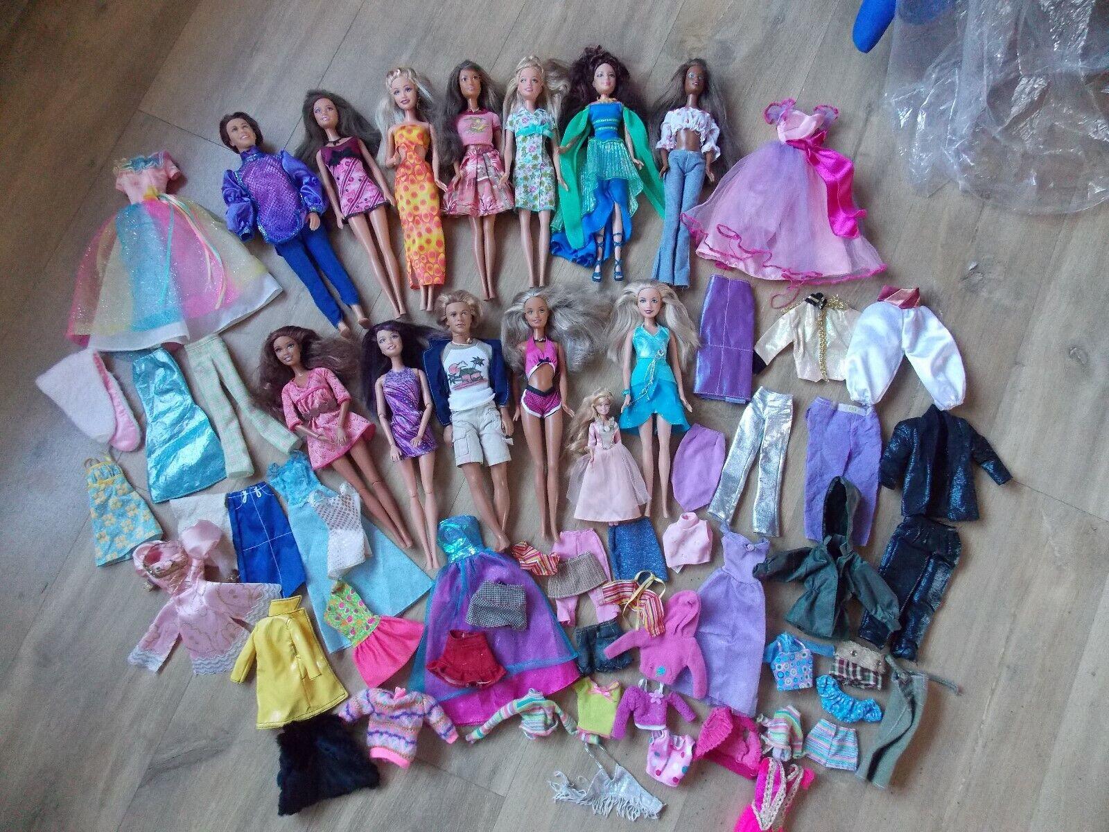 13 X BARBIE & KEN DOLLS ALL KleidED & GENUINE BARBIE & KEN CLOTHES FAB CONDITION