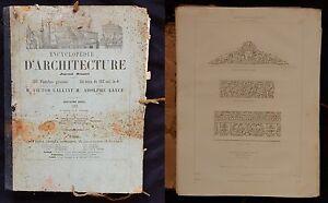 Encyclopedie-d-039-Architecture-1854-Calliat-Lance-120-planches-GRAVURES-texte