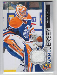 2014-15-UD-SERIES-BEN-SCRIVENS-GAME-JERSEY-GJ-BS-GAME-USED-Upper-Deck-Oilers
