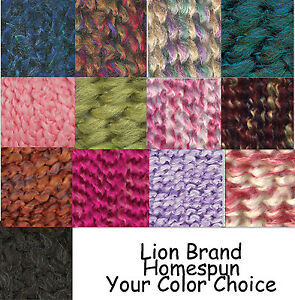 Lion-Brand-Homespun-Bulky-Yarn-Color-Choice-Loom-Knit-Crochet-Free-Ship-Offer