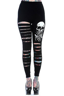 Banned Zombie Slasher Leggings Skull Bones Gothic Emo Black WHITE 8 10 12 14 16
