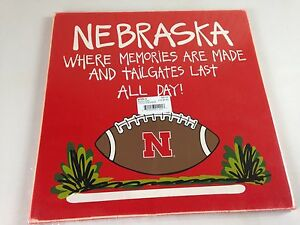 Lot-Of-3-Nebraska-Huskers-Wooden-Signs-15-x-15-Football-Tailgate-Collectible-Art