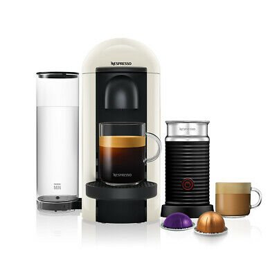 Nespresso Vertuo Plus White Round Top and Aeroccino3 Coffee Machine