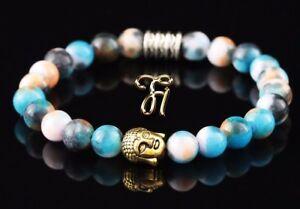 Jade-blau-bunt-Armband-Bracelet-Perlenarmband-Buddhakopf-gold-8mm
