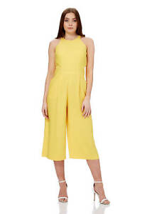 fe0516db050 Roman Originals Women s Yellow Halter Neck Culotte Jumpsuit Sizes 10 ...