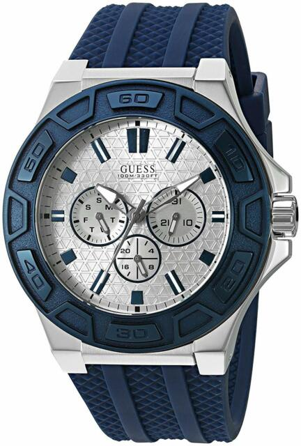 All Mens Sale Guess >> U0674g4 Guess Men Force Multifunctions Dial Navy Blue Band Watch
