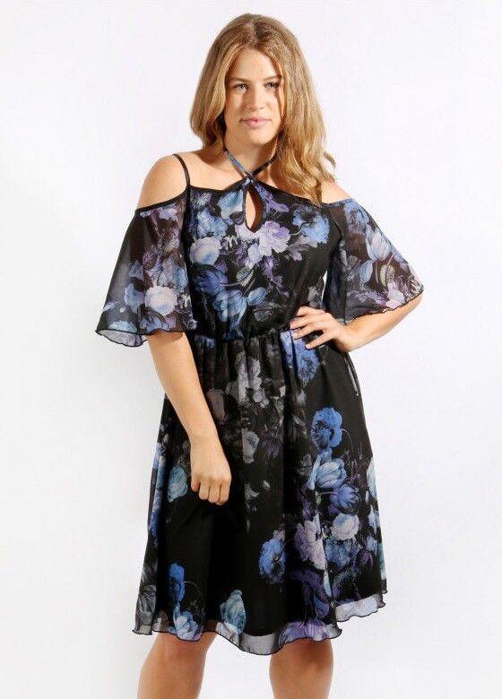 Kleid Gr.48 schulterfrei Abendkleid Damen Blüten Cocktailkleid Schwarz festlich