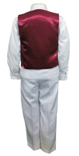 Burgundy Satin Vest Only for Boy Baby Toddler Kid Teen Formal Wedding Party S-20