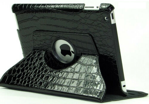 BLACK ALLIGATOR TEXTURED iPAD COVER 360° ROTATING ADJ STAND NEW IN BOX