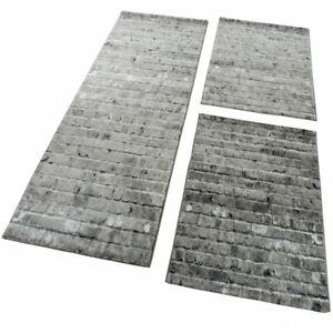 Bettumrandung 3 Tlg Designer Teppich Läufer Steinwand Optik Modern