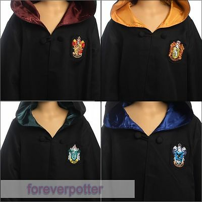 Kids Harry Potter Gryffindor/Slytherin/Hufflepuff/Ravenclaw Cloaks Robes Cosplay