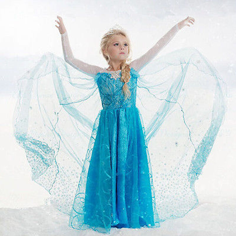 Girls Princess Dress Anna Elsa Cosplay Ice Queen Costume Kids Party