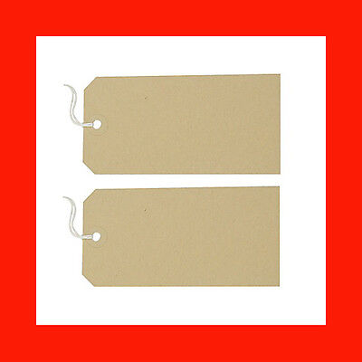 50 Q Connect Brown Buff UNSTRUNG Reinforced Tag Labels for Luggage