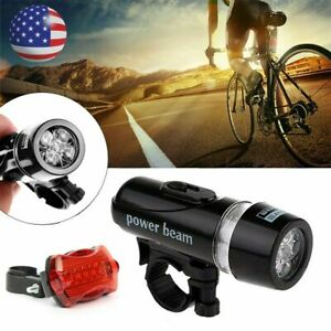 5 LED Lamp Bike Bicycle Front Head Light Rear Safety Flashlight Waterproof