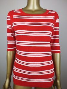 TRENERY-by-COUNTRY-ROAD-TOP-RED-STRIPED-KNIT-TUNIC-SHIRT-BLOUSE-100-COTTON-M