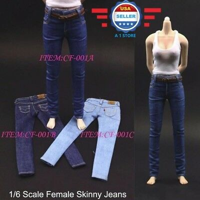 """1//6 Skinny Jeans Pants with Belt A For 12/"""" PHICEN Hot Toys Female Figure ❶USA❶"""
