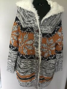 bfed27fa5c6a7 Details about NWT MISS ME FAUX FUR TRIM HOODED CARDIGAN SWEATER SIZE SMALL