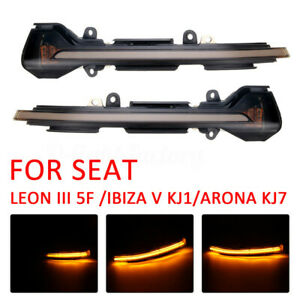 2PC-For-SEAT-LEON-III-5F-13-Side-Mirror-Dynamic-Turn-Signal-LED-Light-G