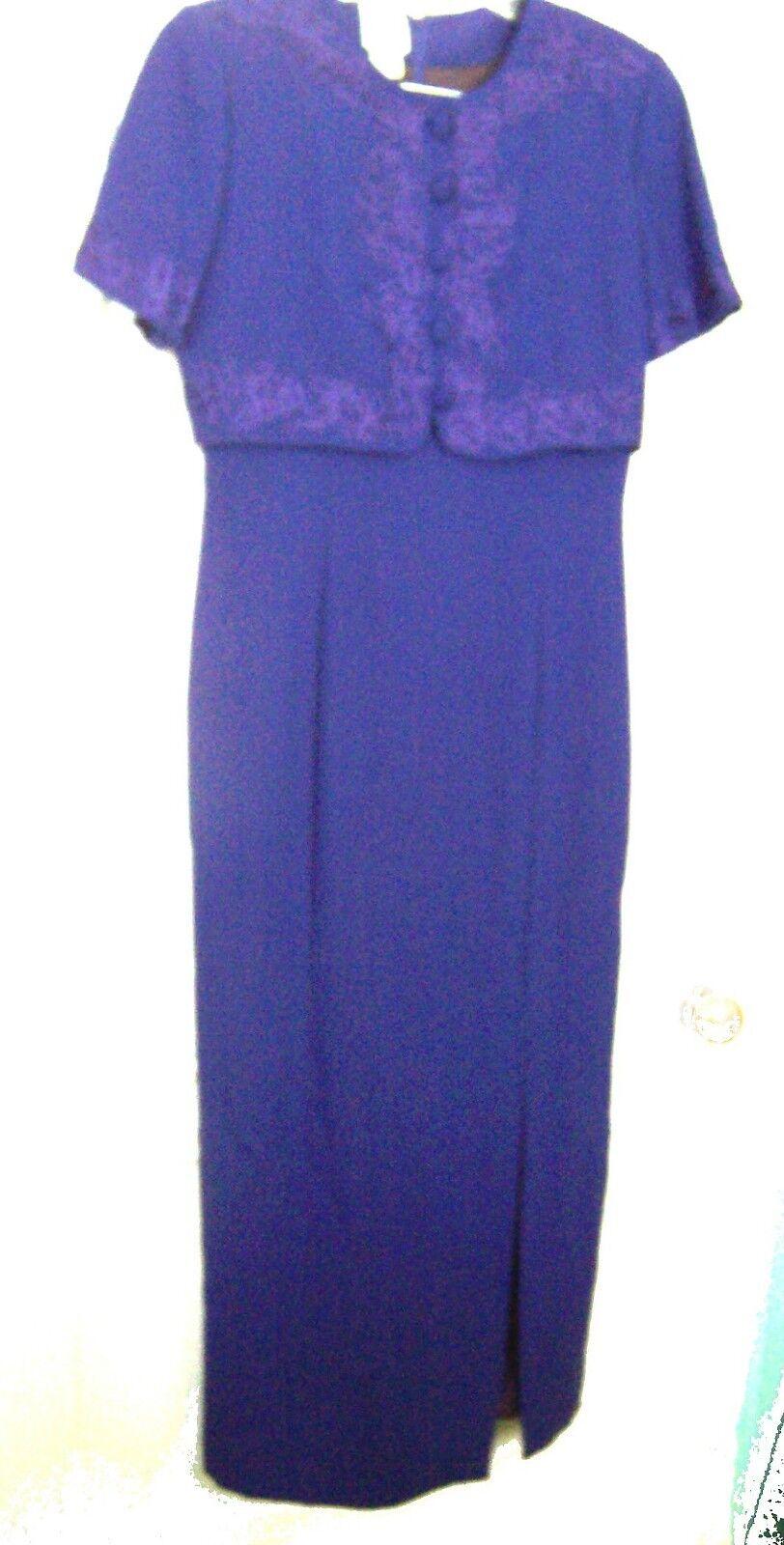 Studio by Pat silveri blueee Dress w Ribbon Embroidery Short Sleeve Dress Size 8