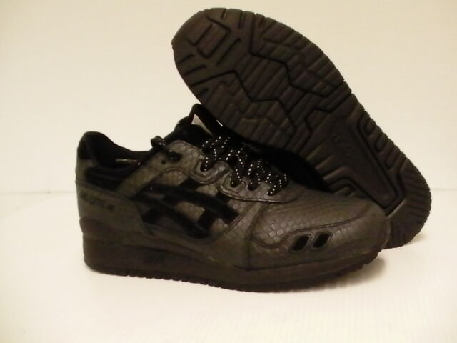 6d9d47bfccaf ASICS Running Shoes Gel-lyte III Black Leather Size 8.5 US Men for sale  online